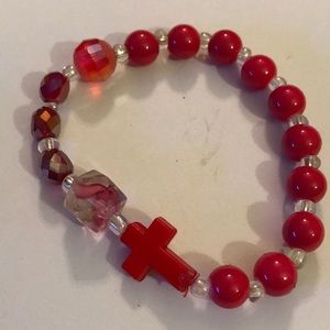 Multi beads cross bracelet